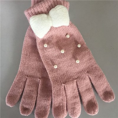 China quality Acrylic solid color knitted kid gloves with bow manufacturers