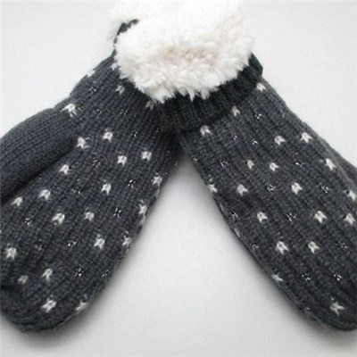 China quality Acrylic mix color knitted men mittens with fleece manufacturers