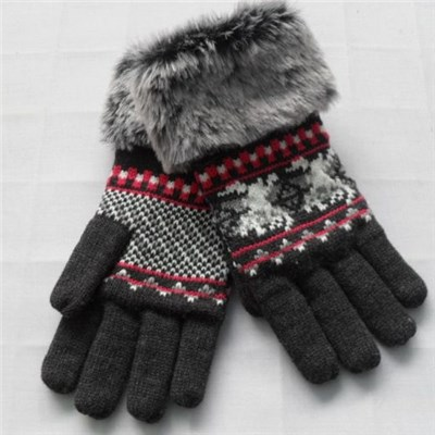 China quality Acrylic mix color knitted lady mittens with faux fur manufacturers
