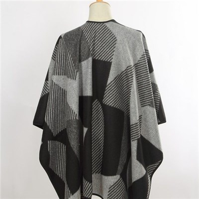 Latest design acrylic contrast color with border patterns woven knitted shawl