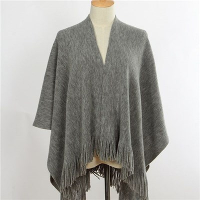 Latest design heather grey acrylic wrap knitted shawl with tassels