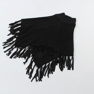 Latest design acrylic cable knitted shawl with suede tassels