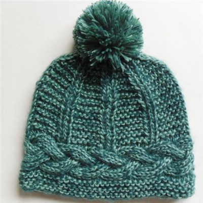 Quality Acrylic solid color cable knitted lady beanie hat with pom​