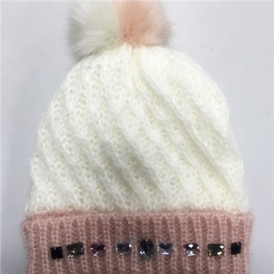 Quality Acrylic contrast color jacquard knitted kid flanging hat with faux fur pom and embroidered sequins