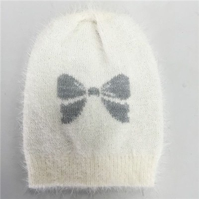 Quality  contrast color bow jacquard ​ knitted kid beanie hat