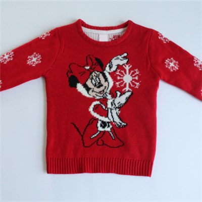Mickey Mouse And Snow Jacquard Sweater Kids Knitwear