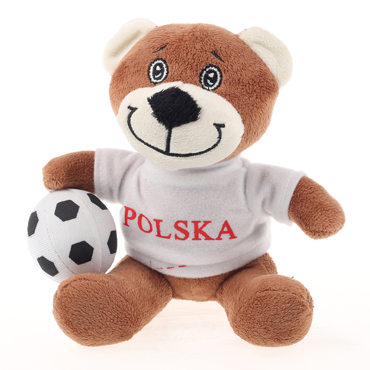 2016 hot selling plush white bear wear clothes with football in hand