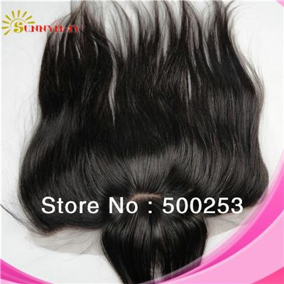 In Stock 100% Malaysian Virgin Hair Straight 13*4 Lace With 4*4 Silk Base Natural Color Lace Frontal With Bang