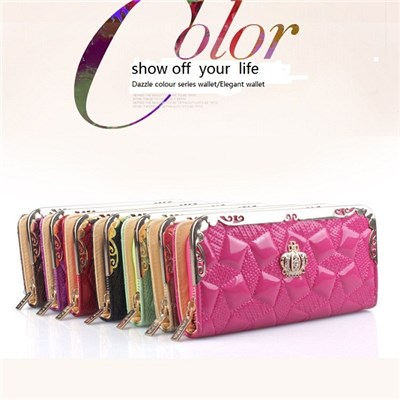 2015 Europe And The United States The New Lady Wallets Long Wallet Crown Patent Leather Embossed With Female Bag,Welcome To Sample Custom