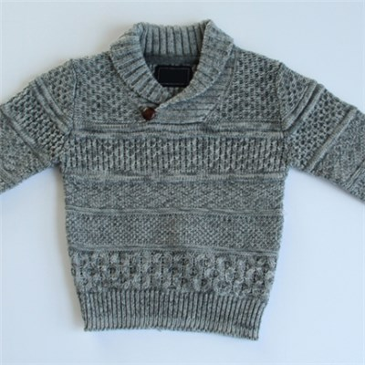 Boys Shawl Collar Knitted Sweater With A Button