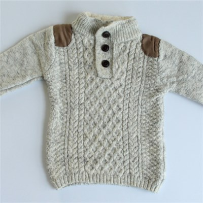 Cable-knit Sweater With Shoulder Patches And Fur Collar