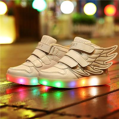 2016 Creative Wing Kids LED Shoes USB Charging Light Up Childrens LED Shoes With 11 Color Models
