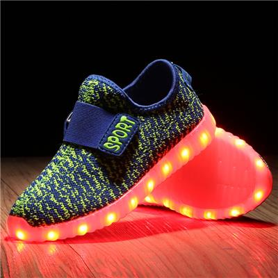 SLEVEL Kid Boy Girl Upgraded Kids LED Shoes Fly Fabric Colorful Kids Luminous Shoes