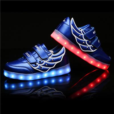 2016 New Style Kids LED Shoes Wholesale USB Charging Light Up LED Flaring Shoes Lovely Wing Shoes