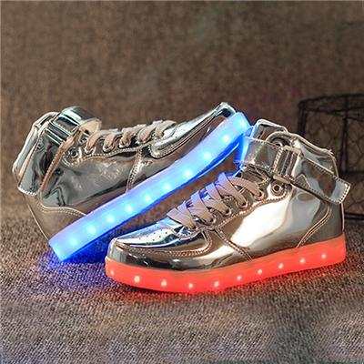 2016 New Style LED Shoes Spring High Upper Colorful Lover Light Shoes Wear-resisting Simulation Sneakers