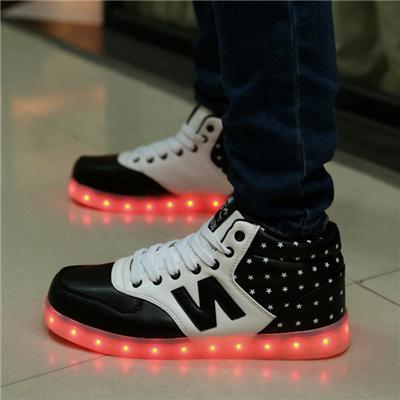 Fashion Unisex LED Shoes For Men And Women High Upper LED Sneaker Shoes USB Charging Light Up Shoes