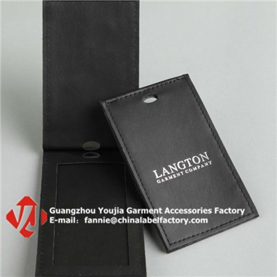 Folding Leather Card Holder/Garment Hang Tag
