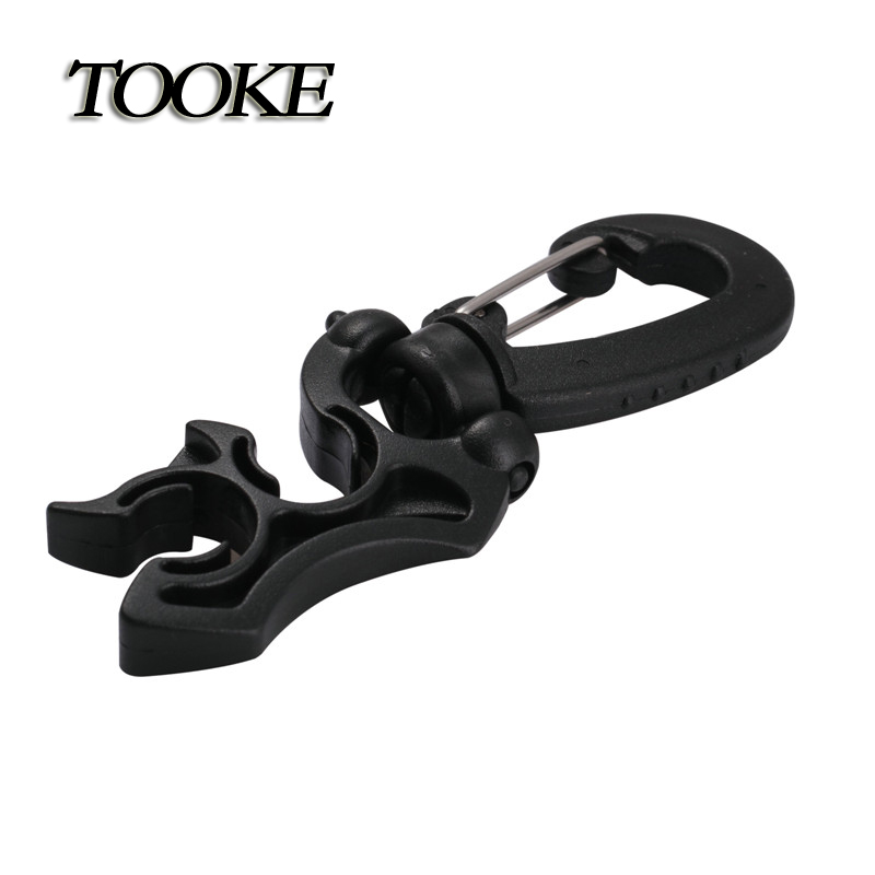 TOOKE Scuba Diving Double Hose Holder with Clip Buckle Black