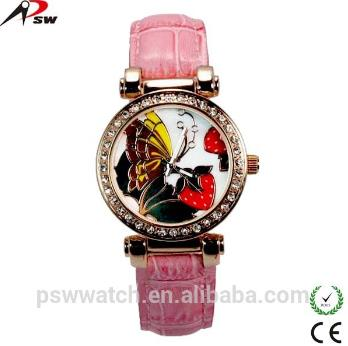 Flower Dial Leather Watch