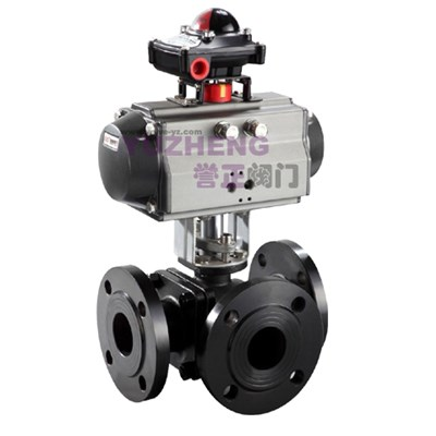 WCB 3Way Flanged Ball Valve With Pneumatic Actuator