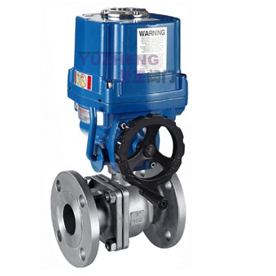 2PC Flange Electric Ball Valve With Handwheel