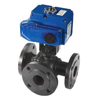 WCB Flanged 3Way Ball Valve With Electric Actuator