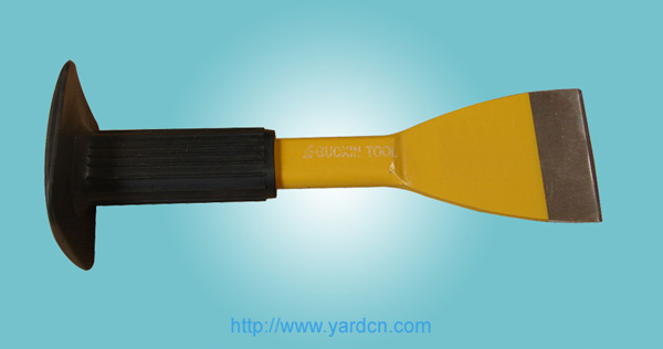 Brick Chisel with Rubber Handle,Flat-shank
