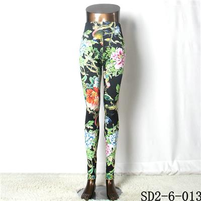SD2-6-013 Popular Fashion Knit Flower Leaves Slim Leggings