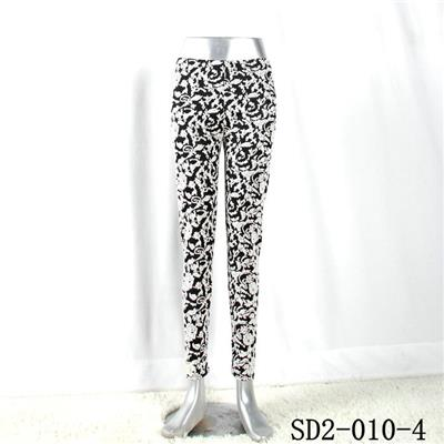 SD2-10-004 Latest Fashion Knit Jacquard Low-waist Black And White Slim Leggings