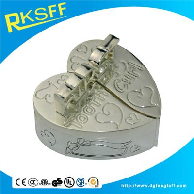 Zinc Alloy Silver Heart-shaped Tooth Boxs