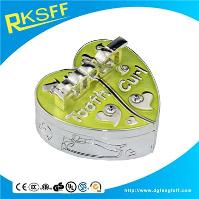 Zinc Alloy Yellow Heart-shaped Tooth Boxs