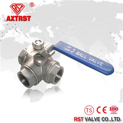 Stainless Steel T Port/L Port Thread Floating Three Way Ball Valve 1000WOG