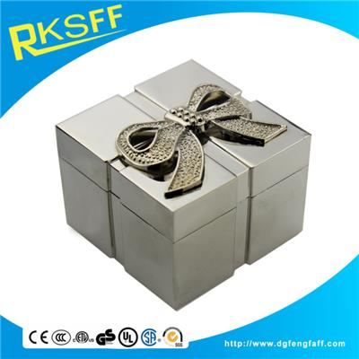 Zinc Alloy Bowknot Square Jewelry Box