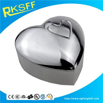 Zinc Alloy Silver Heart-shaped Jewelry Box