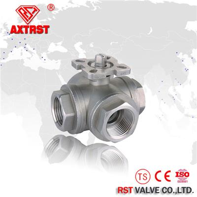 Stainless Steel T Port/L Reduce Port Thread Floating Three Way Ball Valve With ISO5211 Mounting Pad