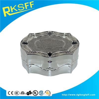 Zinc Alloy Silver Jewelry Box