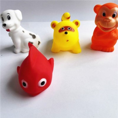 PVC Cute Animal With BB Whistle Bath Toy Capsule Toy