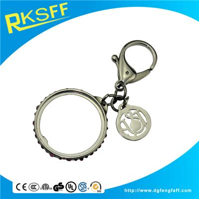 Zinc Alloy Round Keychain With Diamonds