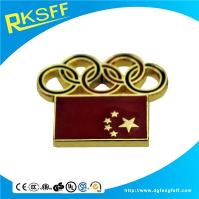 Zinc Alloy Gold Flag Basges