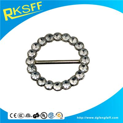 Zinc Alloy Round Belt Buckle With Diamonds