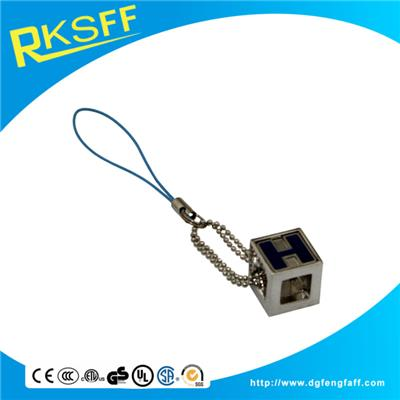 Zinc Alloy Square Mobile Phone Hanging Ornament
