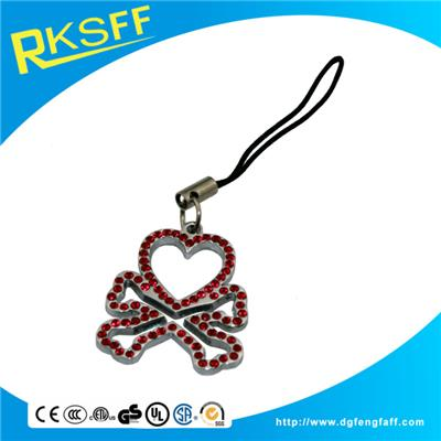 Zinc Alloy Round Mobile Phone Hanging Ornament