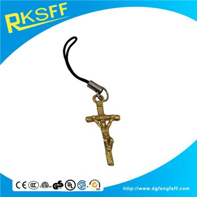 Zinc Alloy Cross Mobile Phone Hanging Ornament