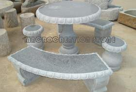 Stone Granite Table and Chairs, Bench