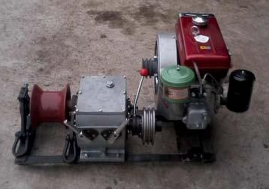Diesel motor cable winch
