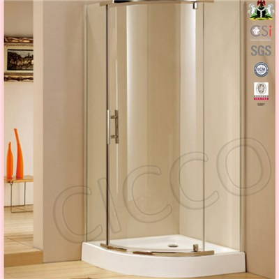 Stainless Steel Round Shower Door Parts With Tempered Glass