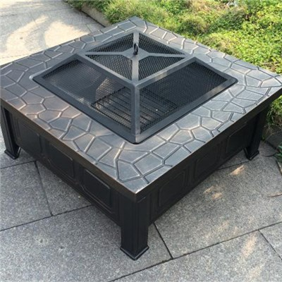 Garden Square Metal Fire Pit With Mesh Cover 818145cm Included Poker
