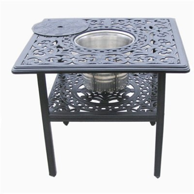 European Outdoor Furniture Cast Aluminum Table With Beverage Holder