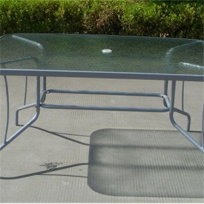 Rectangular Glass Dining Table With Steel Frame