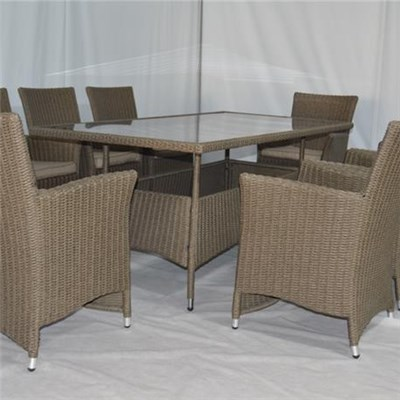 Hot Sale High Quality 7pcs Rattan Dining Setpoly Rattan Furniture Dining Table Set